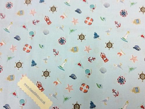 Makower Marine Icons Scatter fabric