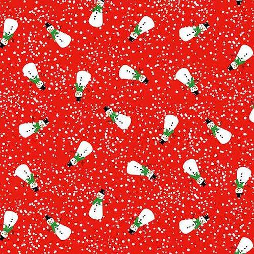 Makower Wonderland Snowmen fabric in Red
