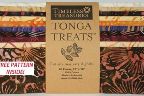 "Timeless Treasures Tonga Treats 10"" squares in Fig"