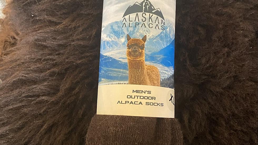 Alaskan Alpaca Men's outdoor Sock -Brown