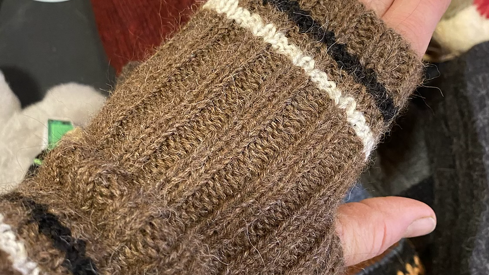Alpaca finger warmers -brown multi