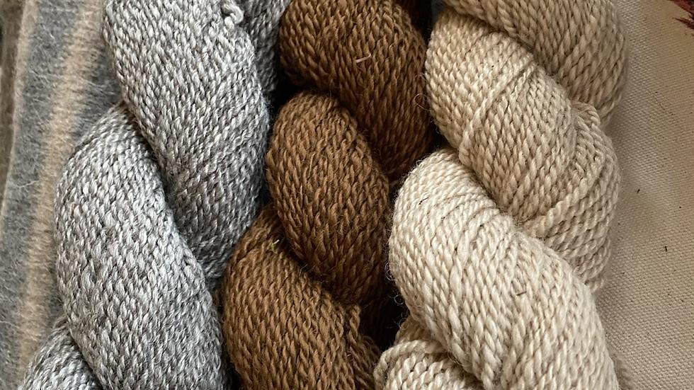 Alpaca bulky yarn natural colors -grey -brown -white
