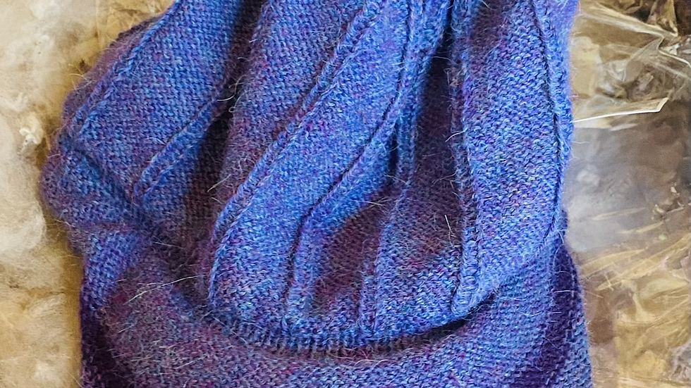 Alpaca kniitted cap -purple tones and a charcoal grey