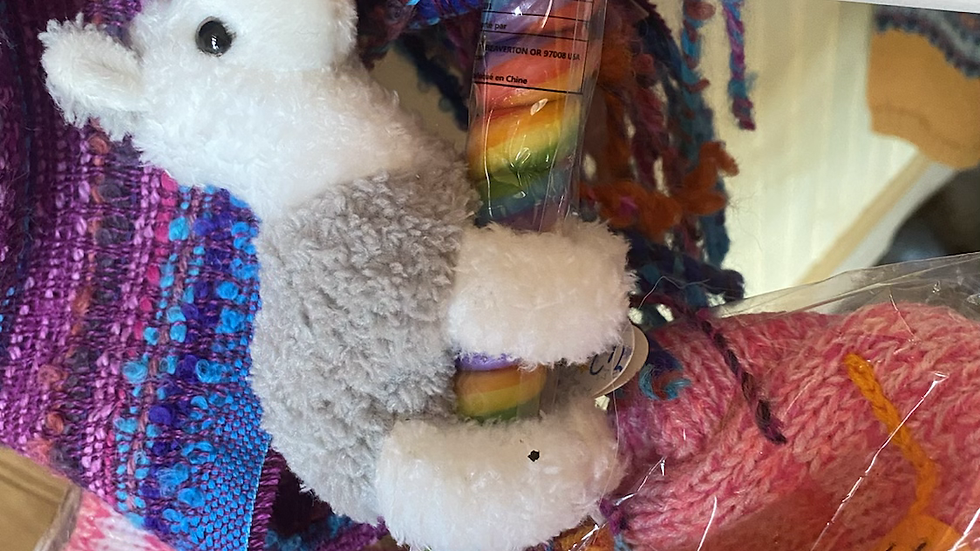 Alpaca stuff animal and rainbow 🌈 sucker