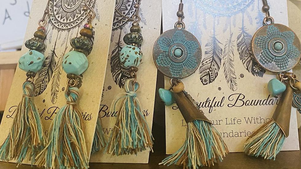 Beaded - yarn earrings