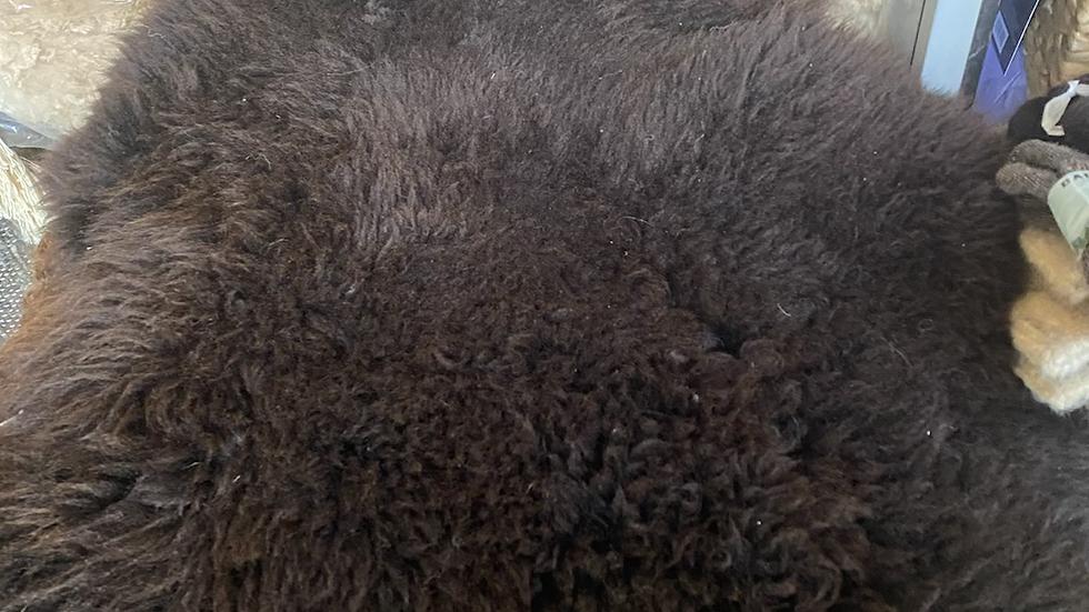 Full skin alpaca rug -one of a kind black