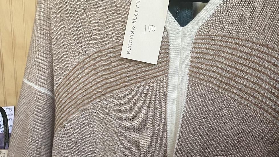 Brown-Natural , dark blue and charcoal 100 percent alpaca shawl