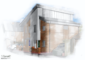 Artist impression of new house in water colour effect.