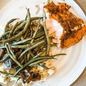 Honey Balsamic Salmon paired with Smashed Potatoes & Red Wine Marsala Veggies.