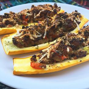 Spicy Sausage Zucchini Boats