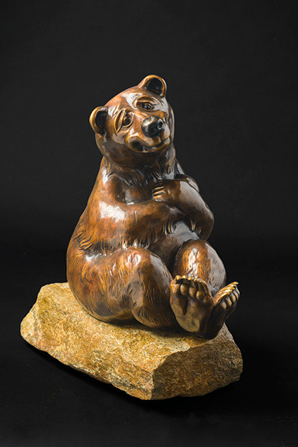 Ours sculpture de bronze de Andrée Marcoux-art animalier Canada
