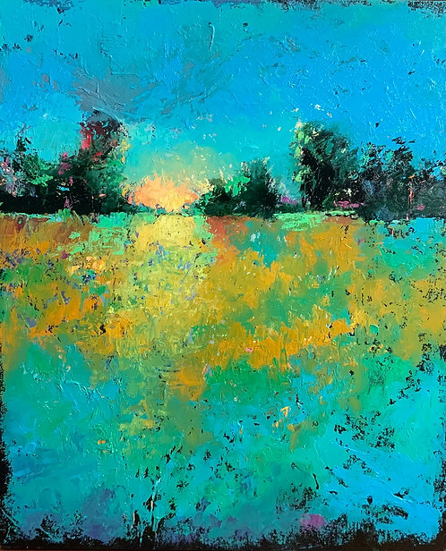 Dans les brumes du matin peinture de l'artiste Andrée Marcoux, Québec, Canada