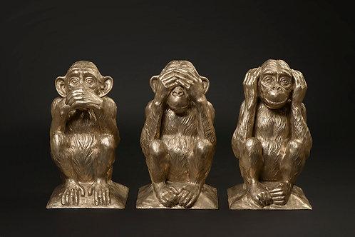 Les trois singes de la sagesse-Sculpture de bronze de l'artiste Andrée Marcoux,Québec, Canada