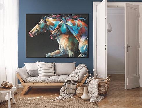 décor salon-Liberté-Peinture de Andrée Marcoux-art cheval