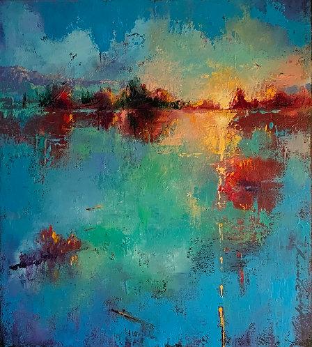 Nouveau jour peinture d'un paysage à l'huile de Andrée Marcoux