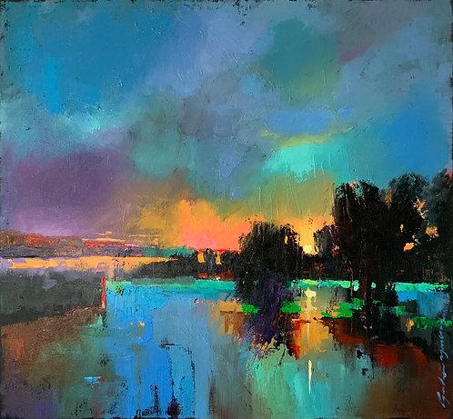 Moment présent-huile sur toile de l'artiste Andrée Marcoux