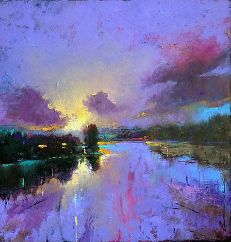Peinture d'un paysage par l'artiste Andrée Marcoux, Québec, Canada