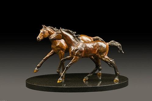 Chevaux sculpture de Andrée Marcoux-art animalier québec canada
