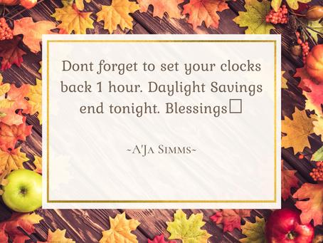Fall back 1 hour clock 🕛🍂