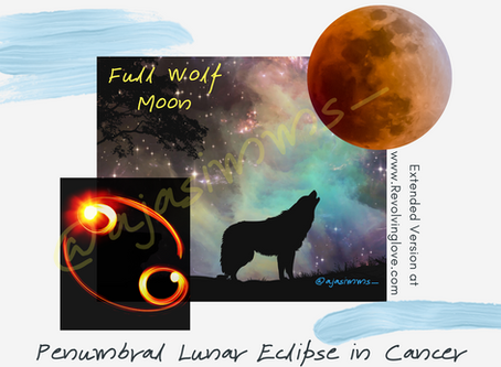 Welcome to the Full Wolf Moon in Cancer 🌕♋ (Penumbral Lunar Eclipse in Cancer)