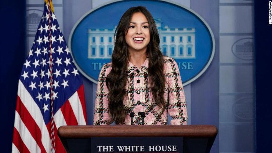 Actress and popstar Olivia Rodrigo visited the White House