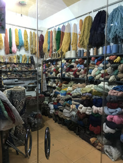 A rug weaving store