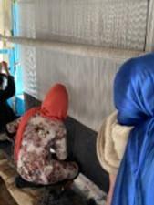 Rug weavers in Kabul, Afghanistan