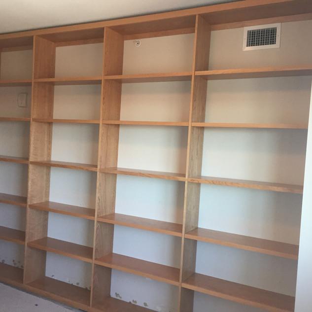 Cherry built in book shelves