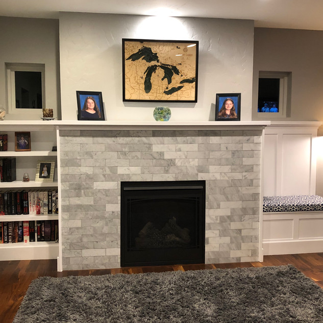 Fireplace shelves and bench