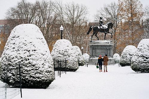 Boston Public Garden in the Snow