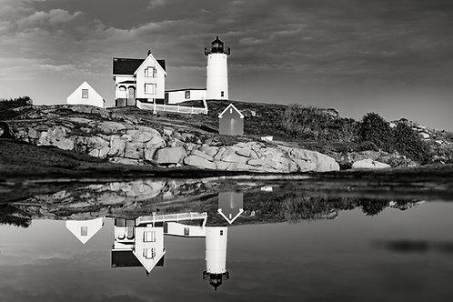 Nubble Lighthouse BW Reflections