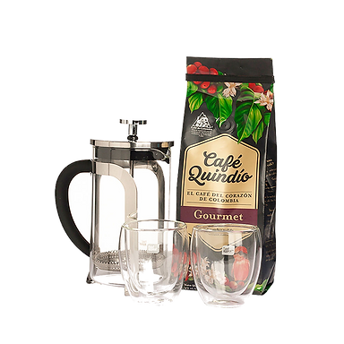 קפה גורמה + פרנץ' פרס + 2 כוסות זכוכית