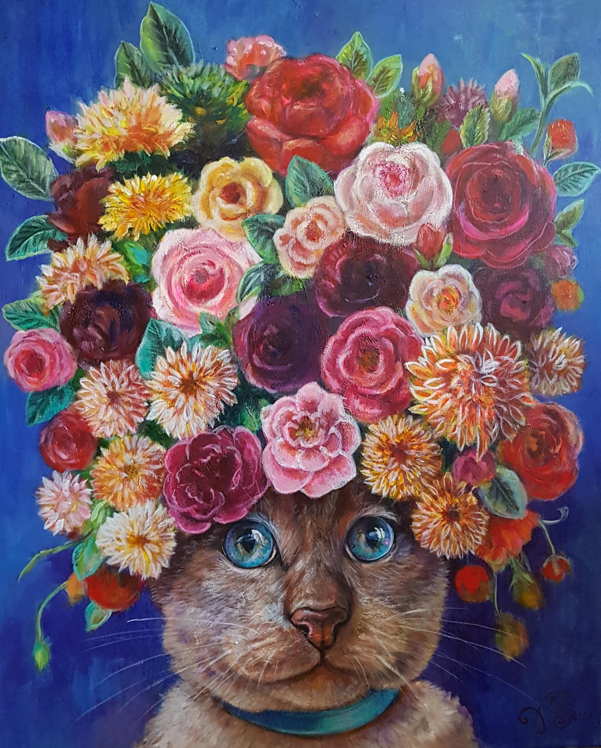 Kat met bloemen blauw