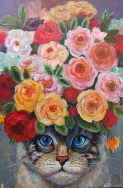 Kat met bloemen