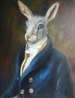 White rabbit blauw