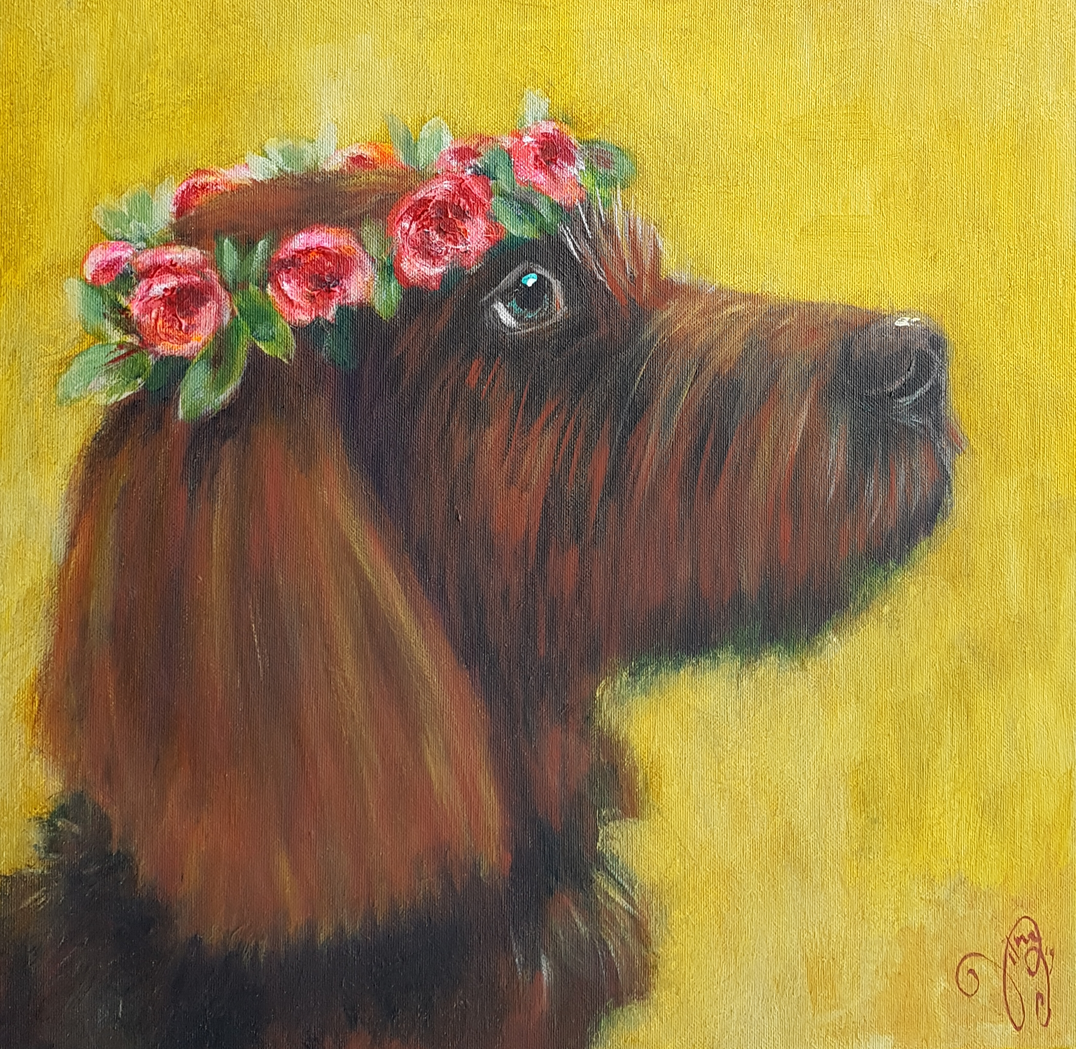 Hond met rozenkrans