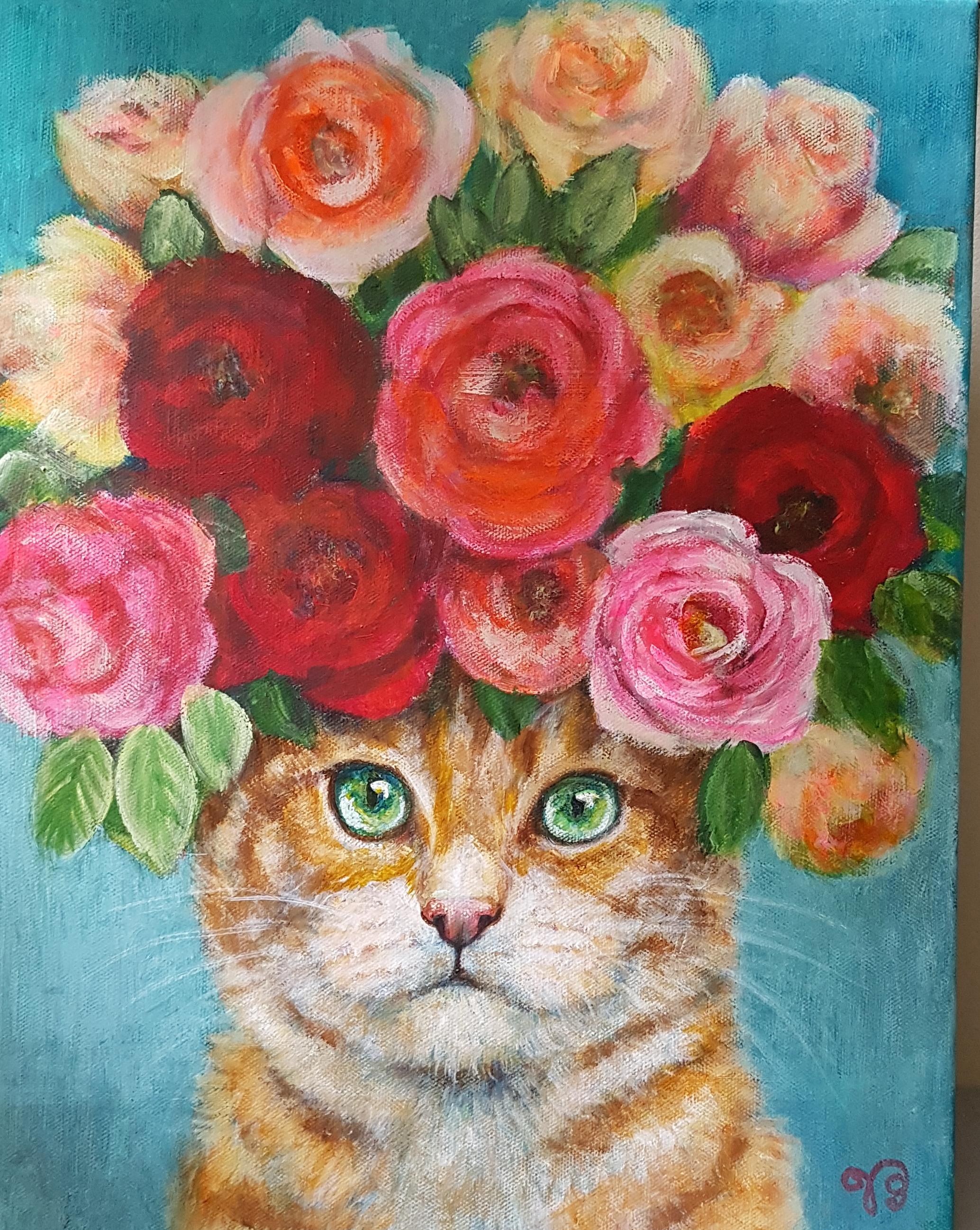 Rode kater met rozen