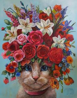 Kat met bloemen roze