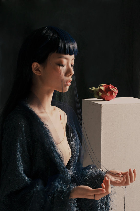 Kendrick Choo Annabelle Nude Contemplating Her Own Hair Becoming Skin