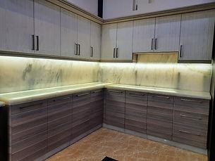 Ameya Marble Kitchen Counter White Backl
