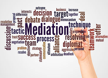Mediation word cloud and hand with marke