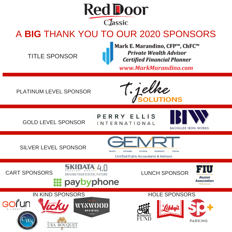 Red Door 2020 Sponsors Thanks for banner