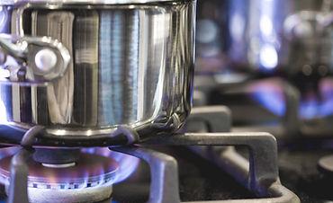 Pentola sul bruciatore a gas