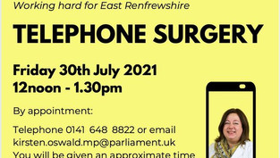 Telephone Surgery Friday 30th July 2021
