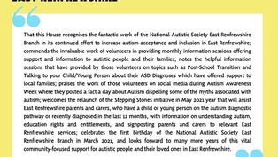 EDM: National Autistic Society East Renfrewshire Branch