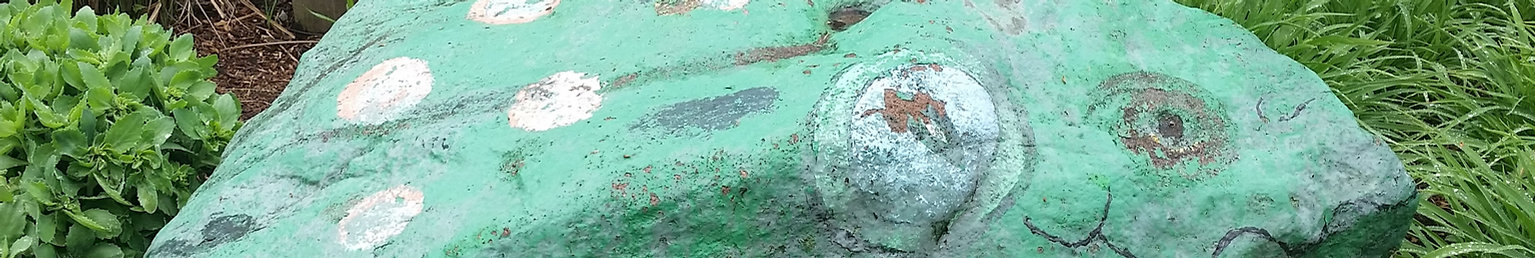 Rock painted to look like a frog at the entrance to Froggy Park in Tenafly, NJ.