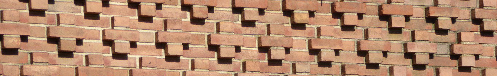 Brickwork pattern on the exterior of the Tenafly Public Library.