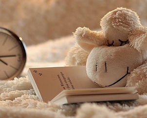 Sleepy stuffed Lamb reading a bedtime story
