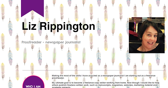 Image shows the website of qualified proofreader Liz Rippington, wife of Londo-based crime thriller author Nick Rippington