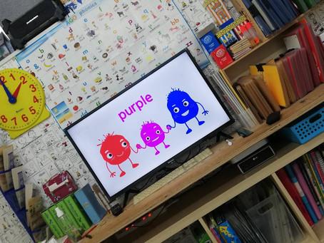 狭山教室のスクリーン